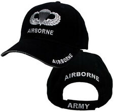 Airborne Hat With Wings - U.S. Army Black With Jump Wings Baseball Cap Hat