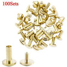 100PCS Gold Chicago Screws Metal Posts Nail Rivet Button Assorted 5 Size Studs