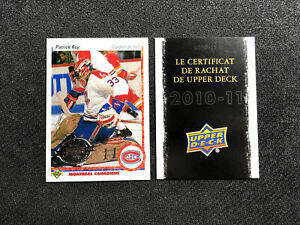 2010-11 UPPER DECK SERIES ONE PATRICK ROY '90-91 FRENCH 20TH ANNIVERSARY #153