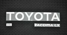 REFLECTIVE TOYOTA TACOMA WHITE TRUCK TAILGATE LOGOS DECAL 95-99 V6  pickup