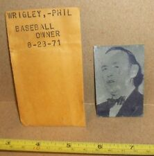 Phil Wrigley Newspaper Printing Plate 1971 Chicago Cubs Hard To Find Rare