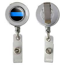 Thin Blue Line Retractable Reel Chrome Badge ID Card Holder