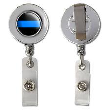 Thin Blue Line Retractable Reel Chrome Badge ID Card Holder