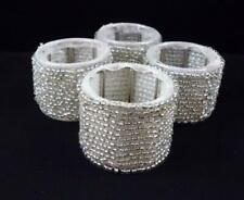 Set of 4 Silver Glass Beaded Napkin Rings Holders Celebrations Holiday Christmas
