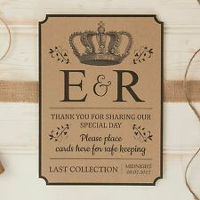 personalised WEDDING POST BOX card SIGN & thank you sign TRADITIONAL Kraft Card