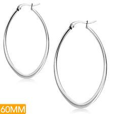 Edelstahl Creole lange Ovale  Ohrringe Schnappverschluss Silber ME 274