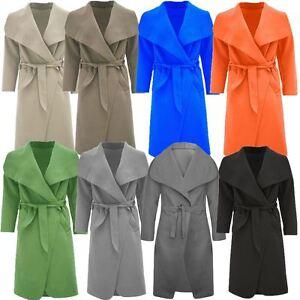NEW LADIES WOMEN LONG SLEEVES WATERFALL DRAPED TRENCH COAT BELT JACKET OPEN CAPE