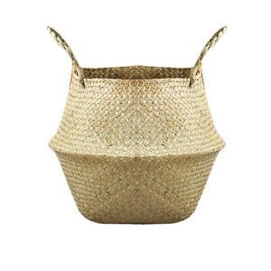 Natural Seaweed Woven Storage Basket Pot Foldable Home Decor Planter Flower Vase