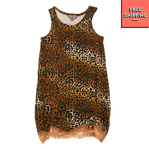 MICROBE By MISS GRANT Vest Dress Size 2Y / 86-92CM Leopard Pattern Lace Trim