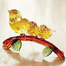 """NEW Crystal Yellow Warbler With Babies Figurine 6-1/2"""" big sale Birds See pics>>"""