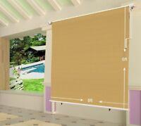 Shatex 6x8ft Wheat Outdoor Roller Sun Shade Exterior Cordless Roller Shade-