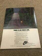 "Vintage 1977 NIKE RUNNING ""THERE IS NO FINISH LINE"" Poster Print Ad 1970s RARE"