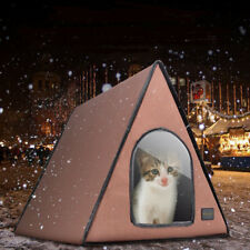 Kitten Cat House Winter Warm Heated Outdoor Waterproof Pet Bed Summer Shelter【US