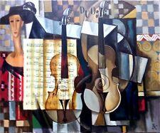 Intéressante Composition Cubiste aux Violons d'Elena KHMELEVA
