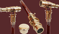 Walking Stick With Brass Telescope Foldable Hidden Spy Gift Wooden Cane Nautical