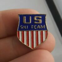 Vintage USA Olympic SKI TEAM Shield Flag pin button pinback lapel *A