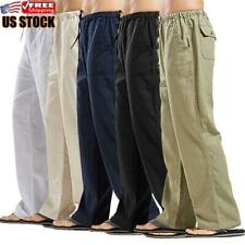 Men's Summer Beach Loose Cotton Linen Pants Yoga Drawstring Elasticated Trousers