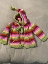 Brand New Handmade Kneeted Girls Sweater With Hood 24 Months