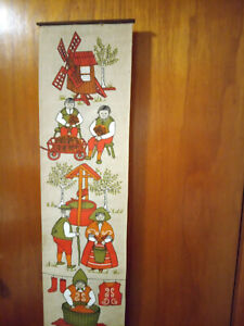 Ulla Scheuer  Vintage Wall Hanging Folk Art Fabric