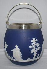 Adams, Tunstall - Cobalt Blue Jasperware - Biscuit Barrel with EPNS Mount