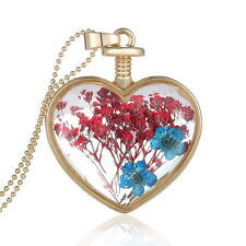 crystal Heart red & blue Dried Flowers Perfume Bottle Necklace mothers day (612