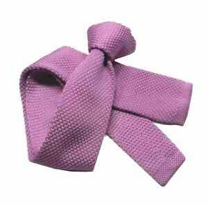 CRAVATTA lilla violetto uomo Maglia TRICOT tinta unita cravatte in maglia nuove