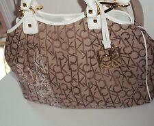 CALVIN KLEIN hudson jacquard satchel flower khaki brown white fabric handbag