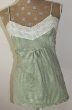 FANG Green Striped Spaghetti Strap Top Empire Waist Cotton JUNIORS LARGE