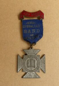 1900s TEMPERANCE ARMY 2 YEARS GIBRALTAR BAND OF HOPE SOBRIETY MEDAL