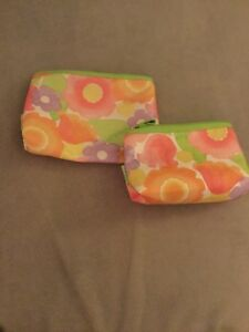 Set Of 2 Different Size Matching Clinque Floral Makeup Bags