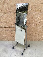 Retro Full Length Double Sided Department Store Wood/Chrome Mirror on Castors