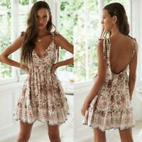 Women Sleeveless Print Floral Ruffled Girl Backless V Neck Dress Summer Sundress