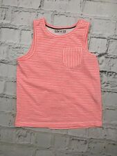 Girl's M&S Pyjama Tank Top Sleeveless Stripe Print Pink White 9-10 Years