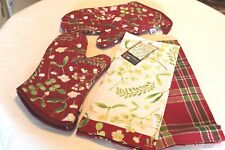 NOW DESIGNS Tea Towels SET/2 & 2 OVEN MITTS MISTLETOE NWT 100% Cotton Red GIFT