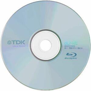 25 x TDK BD-RE Rewritable 25GB RW Blank Blu Ray Discs (2x 25gb 135min)
