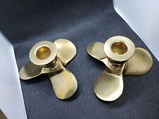 Brass Boat Propeller Candle Holders