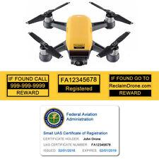 Spark Drone - Yellow - FAA UAS Registration ID Card + Label set - Hobbyist Pilot