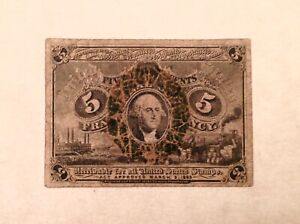 ~ FR. 1232 5 FIVE CENTS SECOND ISSUE FRACTIONAL CURRENCY NOTE