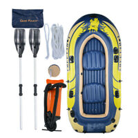 2 Inflatable 3/4Person Floating Boat Raft Set with Oars & Air Pump