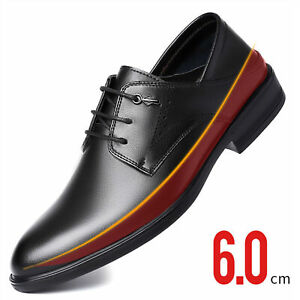 """6cm/2"""" Tall Men's Business Oxford Invisible Height Shoes Burnished Toe Elevator"""