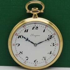 1911's LONGINES 18K SOLID GOLD OPEN FACE POCKET WATCH 49mm.