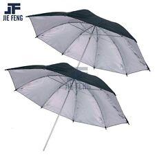 "2 x 33"" Black/Silver Reflective Photo Video Studio Umbrella For Flash Lighting"
