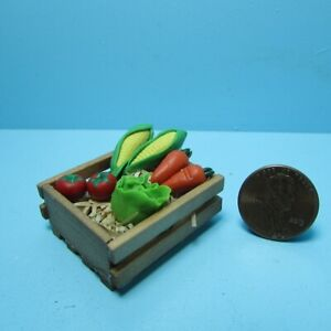 Dollhouse Miniature Wood Crate with Farm Grown Vegetables B0473