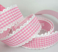 Pink/White Ribbbon -  25mm Embroidered white edge - 2 yards