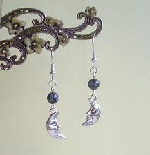 Crescent Moon Face Goddess Snowflake Obsidian Gemstone Drop Earrings