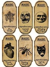 Halloween 6 large magic voodoo apothecary bottle labels stickers crafts