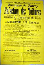 AFFICHE COURCY (Manche) Adjudication Travaux refection toitures école fille 1914