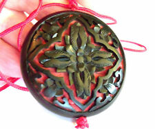 Huge Black & Red Cinnabar Floral Cross Pendent Necklace on Silk String Vintage