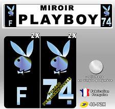 """Stickers Plaque D'immatriculation NOIR & MIROIR """"PLAYBOY"""" 4 pièces"""