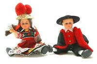 VINTAGE MINIATURE DOLLS BOY GIRL BLACK FOREST GERMAN FOLK COSTUME BOLLENHUT